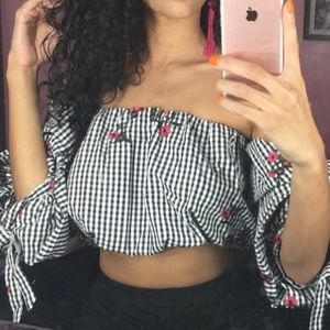 Off The Shoulder Checkered Blouse